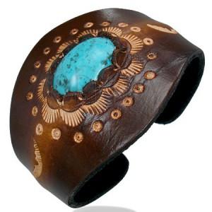 Kožený ohybný náramok - oválny tyrkysový kameň, ornamenty