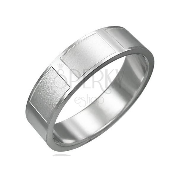 Prsteň z chirurgickej ocele lesklý matné obdĺžniky