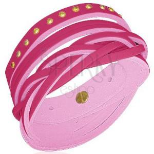 Kožený náramok - vybíjaný, viac šnúrok, pink