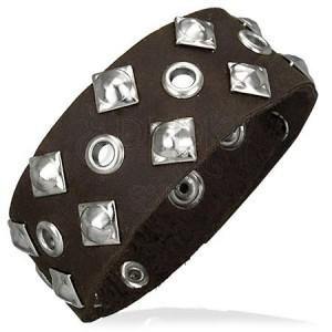 Kožený náramok - štvorcové nity, dierky
