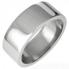 Oceľový prsteň lesklý, rovný s hranou 8 mm
