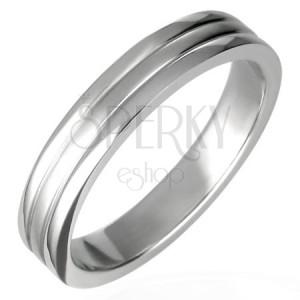 Oceľový prsteň lesklý s dvoma ryhami 6 mm