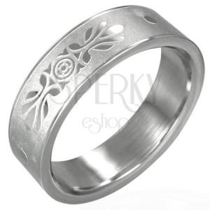 Oceľový prsteň so symetrickou ozdobou pieskovaný