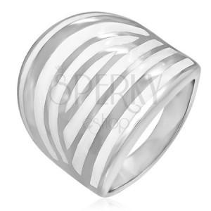 Oceľový prsteň - biela zebra, smaltovaný
