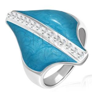 Oceľový prsteň - modrý kosoštvorec, zirkónový pás
