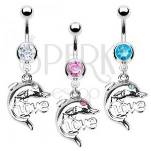 Oceľový piercing do pupka - delfín, LOVE
