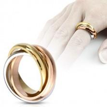 Trojitý prsteň z ocele - trojfarebná kombinácia