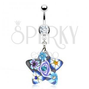 Piercing do pupku - hviezda s lúčnymi kvetmi, zirkóny
