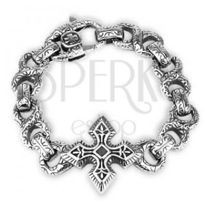 Keltský oceľový náramok - zdobená ležatá osmička, ornamenty