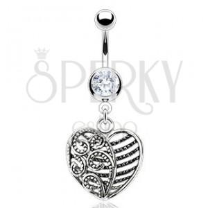 Oceľový piercing do pupka - srdiečko s ornamentmi