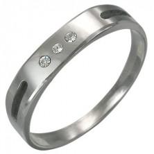 Wolfrámový prsteň s výberom a 3 zirkónmi
