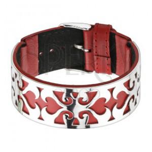Náramok červeno-striebornej farby, vysekaný ornament