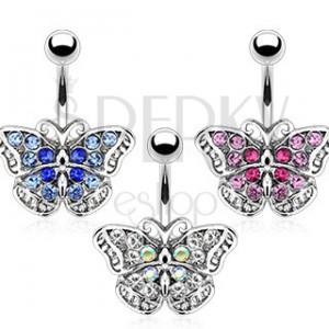 Piercing do pupka - zirkónový motýlik