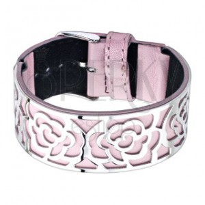 Ružový náramok s oceľovou ozdobou, výseky - ruže