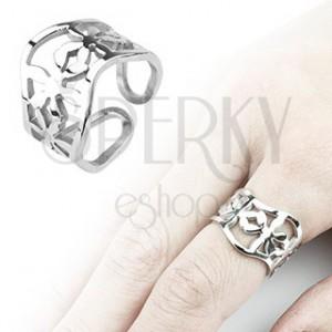 Vlnitý oceľový prsteň s kvietkami