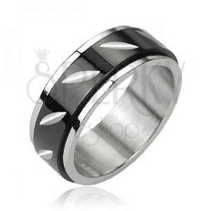 Oceľový prsteň s otáčavým čiernym stredom - zárezy