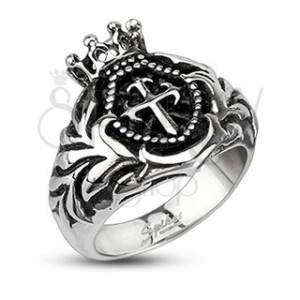 Mohutný oceľový prsteň - kráľovská koruna, krížik