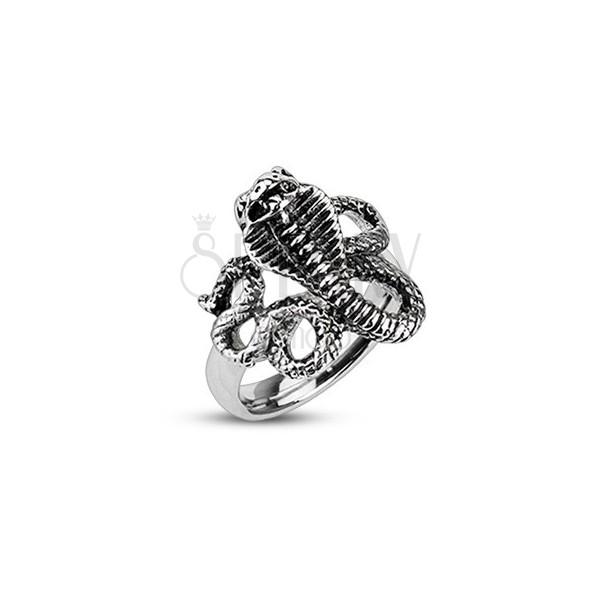 0a1ef6bd0 Patinovaný oceľový prsteň - zúrivá kobra | Šperky Eshop