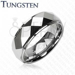 Tungstenový prsteň so skosenými kosoštvorcami
