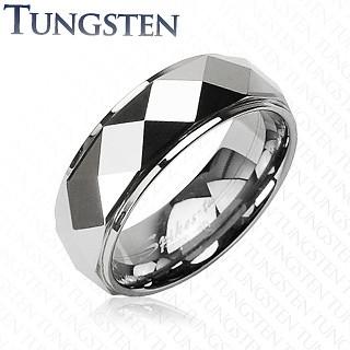 Tungstenový prsteň so skosenými kosoštvorcami, strieborná farba - Veľkosť: 72 mm