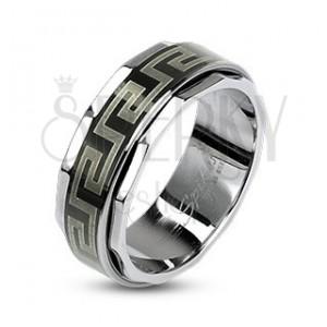 Prsteň z ocele s otáčavým stredom v gréckom štýle