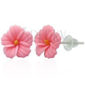 FIMO náušnice - ružová sedmokráska