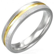 Oceľový prsteň matný s lesklým stredom zlatej farby