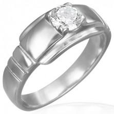 Zásnubný prsteň z chirurgickej ocele s očkom na širšom podklade