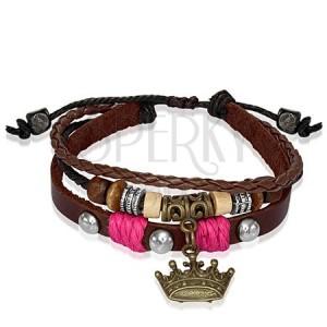 Kožený náramok s korálkami, kráľovská koruna - ružová šnúrka