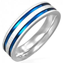 Oceľový prsteň matný s dvoma modro - fialovými pásmi