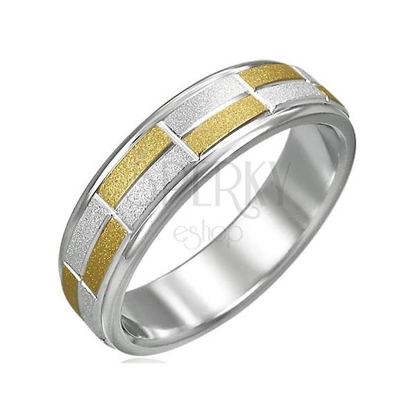 Dámsky prsteň dvojfarebný pieskované obdĺžniky malé