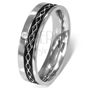 Prsteň z chirurgickej ocele - Keltský dizajn, číry zirkón