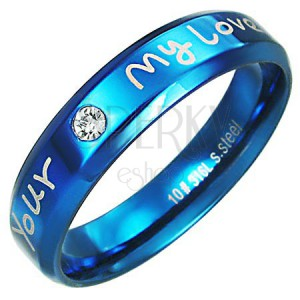 Prsteň z ocele - modrá farba, zaľúbený nápis