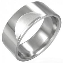 Oceľový prsteň hladký s matnými polkruhmi
