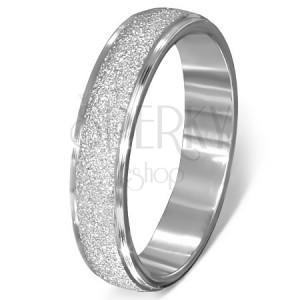 Oceľový prsteň - pieskovaný vystupujúci pás