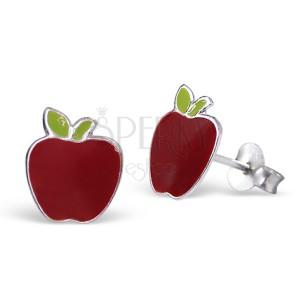 Strieborné náušnice 925 - červené jablko