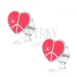 Strieborné náušnice 925 - srdiečko Peace, ružové