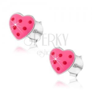 Strieborné náušnice 925 - ružové srdiečko s bodkami