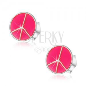 Strieborné náušnice 925 - ružový kruh Peace