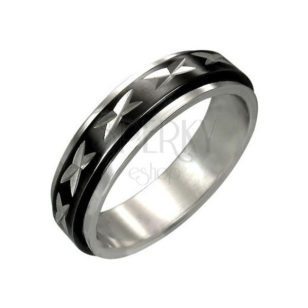 Oceľový prsteň s otáčavým čiernym stredovým pásom
