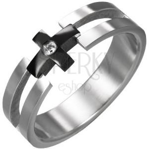 Prsteň z ocele - čierny kríž, číry zirkón