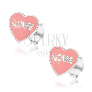 Strieborné náušnice 925 - ružové srdce Love