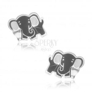 Detské strieborné náušničky 925 - sivý slon