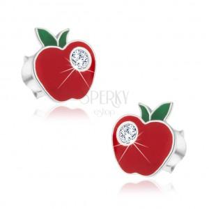 Strieborné náušnice 925 - červené jabĺčko so zirkónom