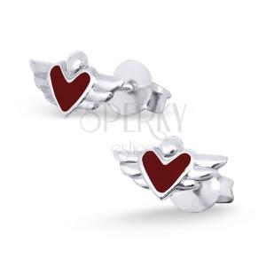 Strieborné náušničky 925 - srdce s krídlami