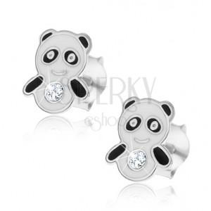 Náušničky pre deti, zo striebra 925 - malá panda