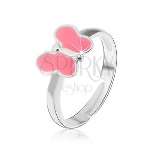Detský prsteň striebro 925 - ružový motýlik