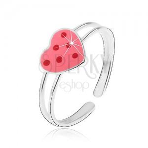 Strieborný prstienok 925 - ružové glazúrované srdce s červenými bodkami