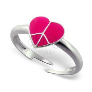 Prstienok zo striebra 925 - ružové srdce Peace