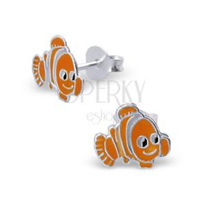 Detské strieborné náušnice 925 - farebná rybka